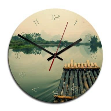 Holz-Wanduhr - Floßfahrt in China