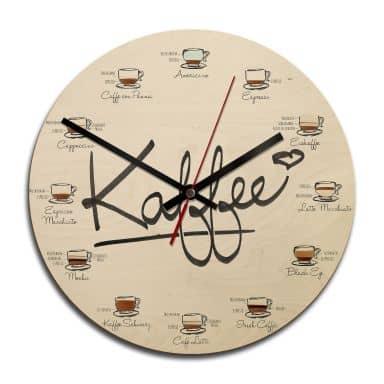 Holz-Wanduhr - Kaffeesorten