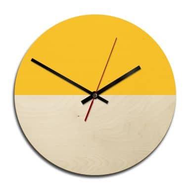 Horloge murale en bois - Hedda Jaune