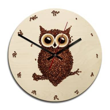 Orologio in legno - Civetta di caffè