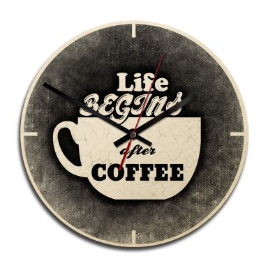 Holz-Wanduhr - Life begins after Coffee 02