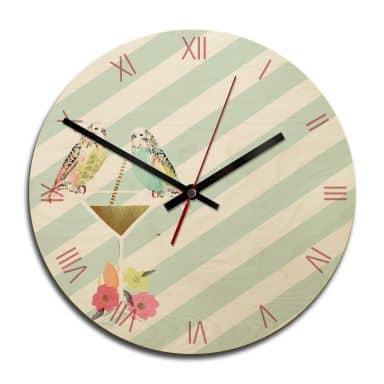 Wooden clock – Party Birds