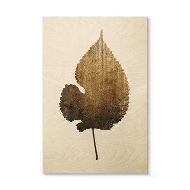 Tableau sur bois Kubistika - Feuille dorée