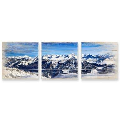 Holzbild-Set Alpenpanorama (3-teilig)