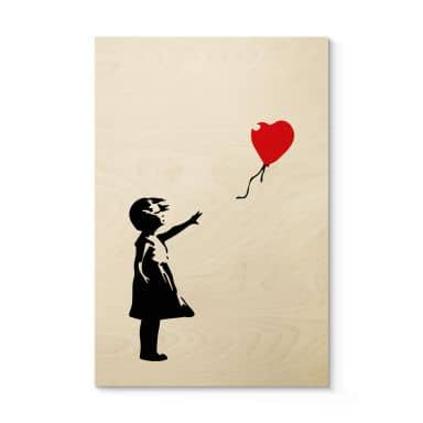 Holzposter Banksy - Girl with the red balloon