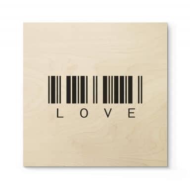 Holzbild Barcode Love - Quadratisch