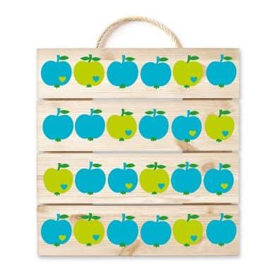 Wood Print - byGraziela - Apples Blue Green