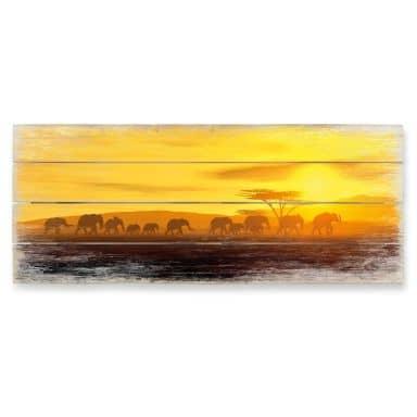 Holzbild Die Wanderung - Panorama - 100x40 cm