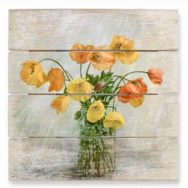 Wood Print Disher - Poppies in a vase