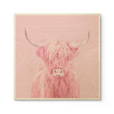Holzposter Fuentes - Highland Cow - Quadratisch
