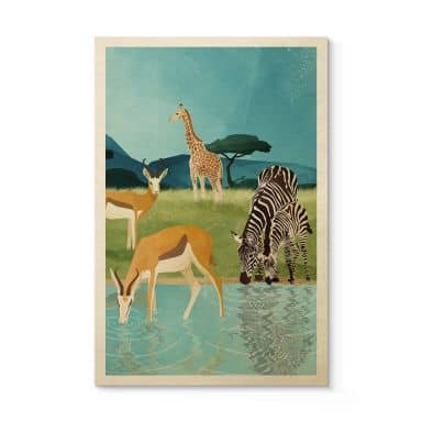 Holzposter Goed Blauw - Tiere am Wasserloch - Antilopen, Zebras und Giraffe