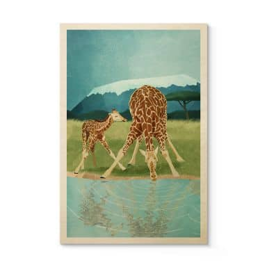 Holzposter Goed Blauw - Tiere am Wasserloch - Giraffen