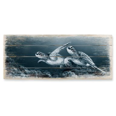 Holzbild Narchuk - Zwei Schildkröten auf Reisen -