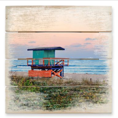 Tableau sur bois - Cabane de Maître Nageur Miami