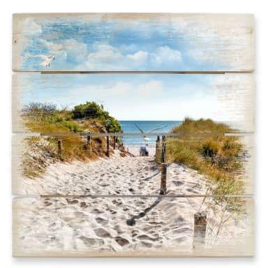 Stampa su legno - Il cammino per la spiaggia