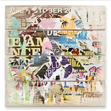 Houten Wanddecoratie Afgescheurde Poster 02
