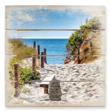 Holzbild Küstenblick