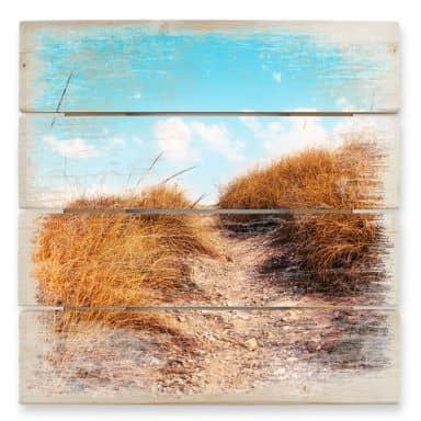 Holzbild Strandaufgang