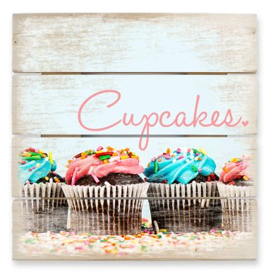 Holzbild Party Cupcakes