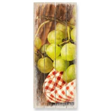 Holzbild Süße Trauben - Panorama