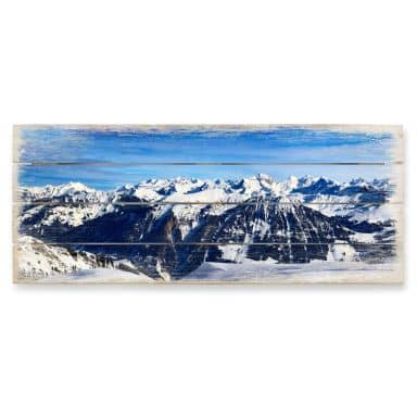 Alpine Panorama - Panorama Wood Print