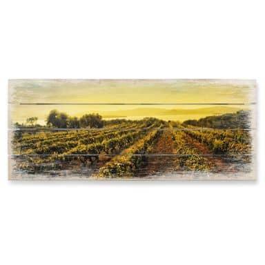 Holzbild Weinreben im Sonnenuntergang - Panorama