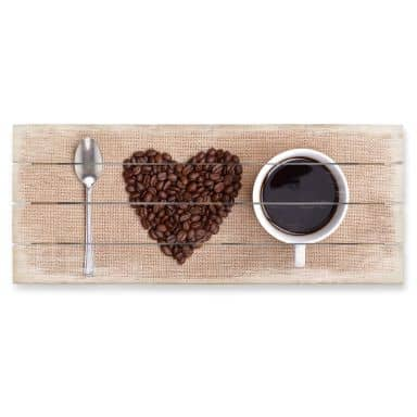 Holzbild I love Coffee - Panorama