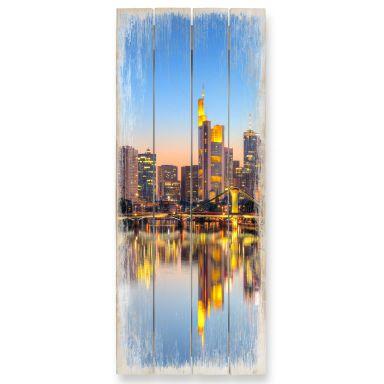 Holzbild Frankfurter Lichter - Panorama