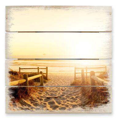Stampa su legno -Tramonto sulla spiaggia