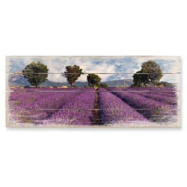 Holzbild Lavendelfeld - Panorama