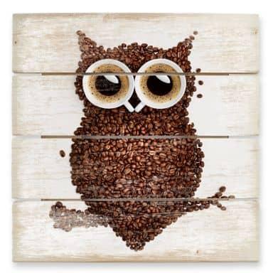 Stampa su legno - Una civetta di caffè