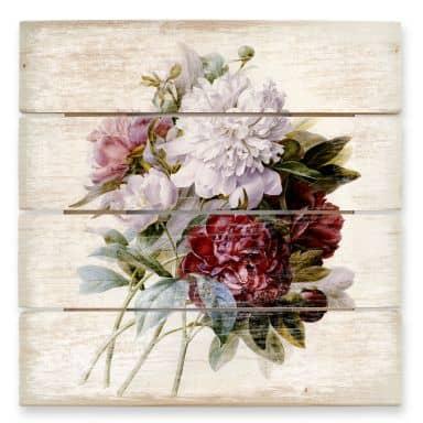 Holzbild Redouté - Strauss von roten, lila und weißen Pfingstrosen