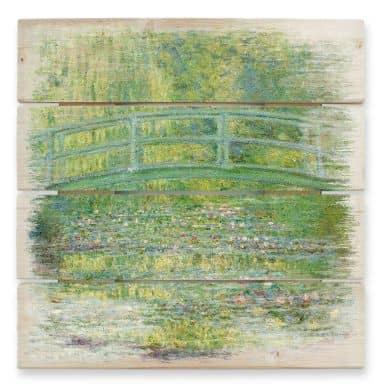 Holzbild Monet - Seerosenteich und japanische Brücke