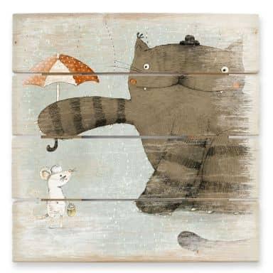 Holzbild Loske - Regenschirm