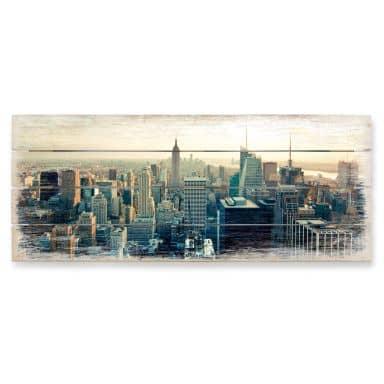 Holzbild Skyline von New York City - Panorama