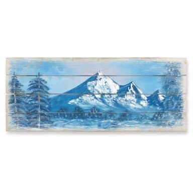 Holzbild Toetzke - Alpsee in den Bergen - Panorama