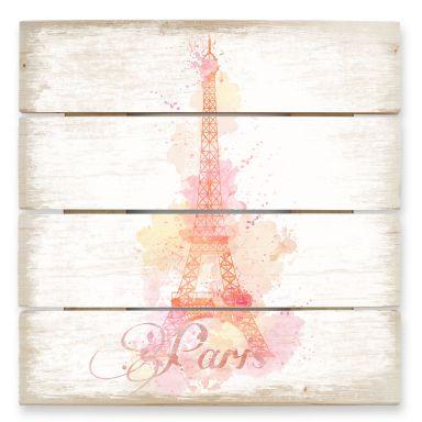 Holzbild La Tour Eiffel Aquarell