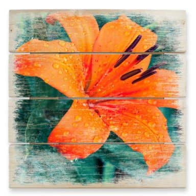 Holzbild Tropical Lily