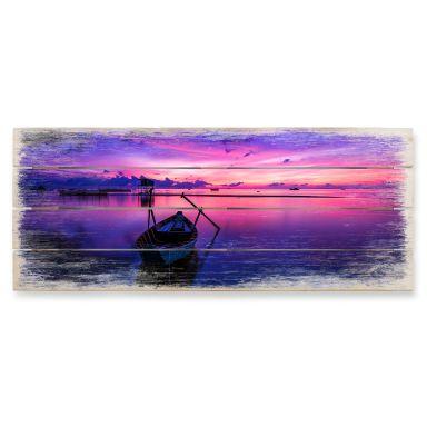 Holzbild Pink Sunrise - Panorama