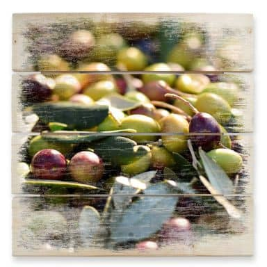 Holzbild Mediterrane Oliven