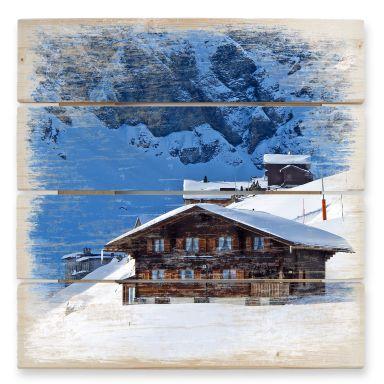 Holzbild Ferienhütte in den Schweizer Alpen