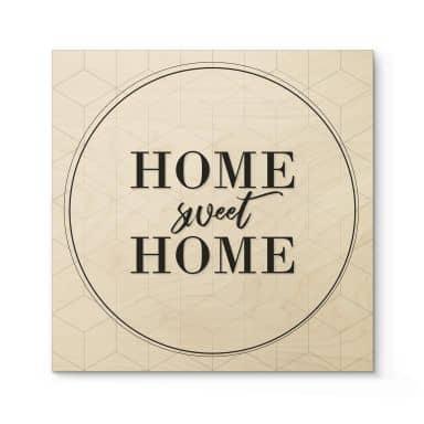 Tableau en bois Home sweet Home - Carré