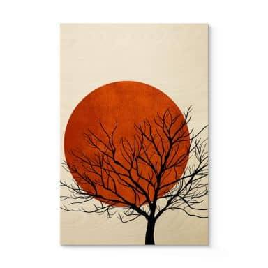 Holzposter Kubistika - Warmer Sonnenuntergang