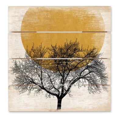 Holzbild Kubistika - Wintermorgen