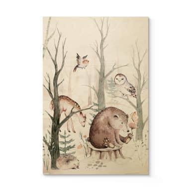 Holzposter Kvilis - Tierfreunde im Wald