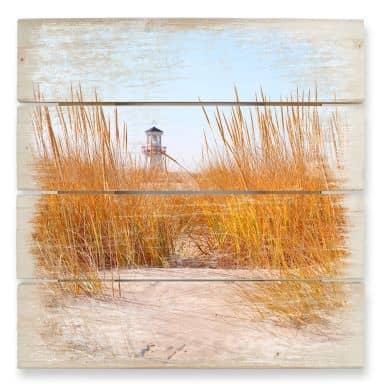 Beach with Lighthouse - Wood Print
