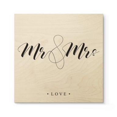 Holzbild Mr and Mrs - Quadratisch