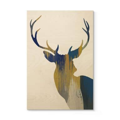 Holzposter Orara Studio - Deer Blue and Yellow 02