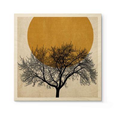 Houten Poster Kubistika - Wintermorgen (vierkant)