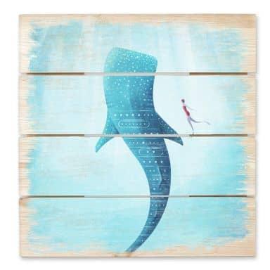 Tableau en bois - Le requin baleine